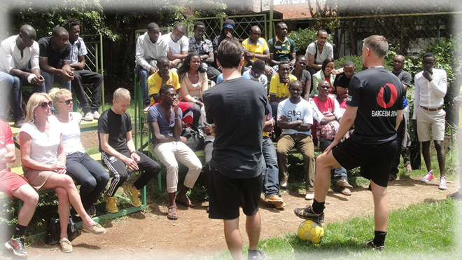 Football coaches from Oure training some of the Kenyan coaches
