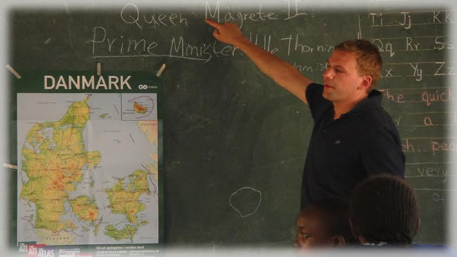 A Danish teacher-training student undertakes his teaching practice in Murang'a Primary School, for a month