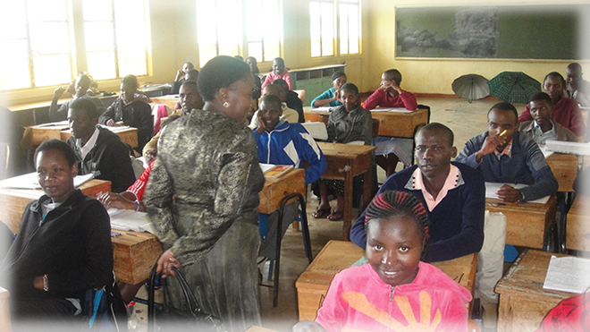 A Kijani observes a teaching lesson at Murang'a TTc
