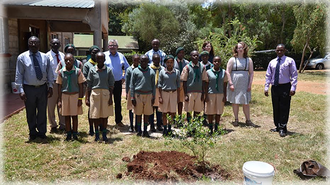 The teachers from Denmark participate in a tree planting session at NGSA