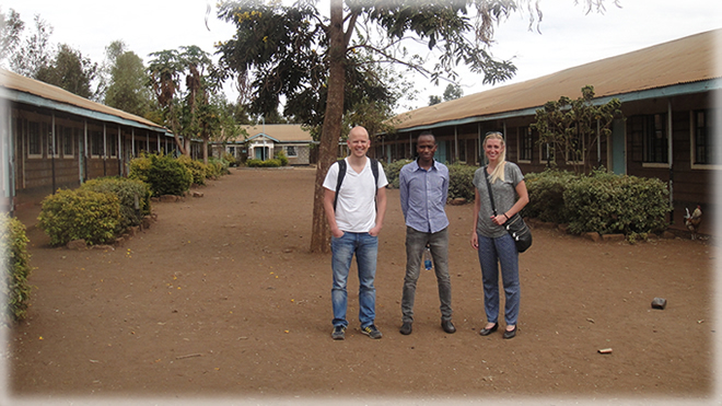 The teachers from Hollofpile Skole on their first day at Murang'a College Primary