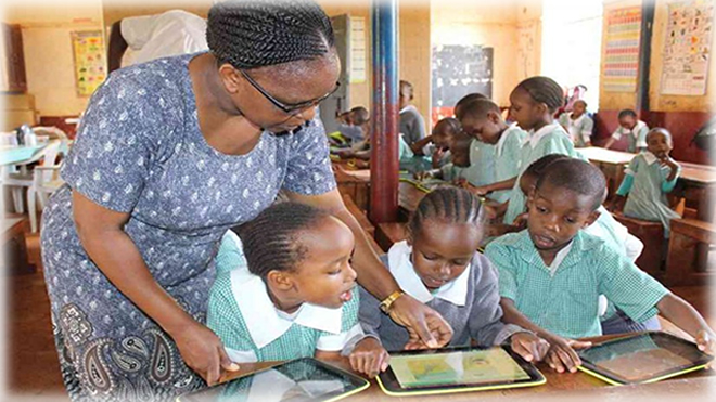 Students at Muranga Primary school during an IT lesson